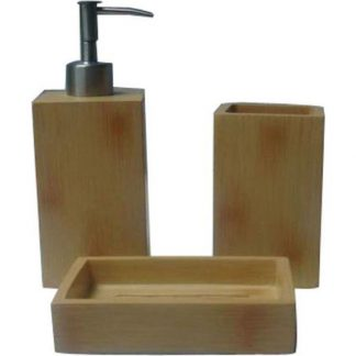 SET LAVABO BAMBOO MARRON