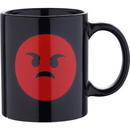 MUG 33CL GRES ANGRY BLACK EMOTICON
