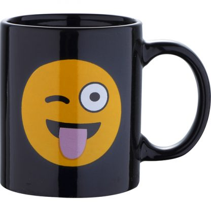 MUG 33CL GRES WINK BLACK EMOTICONO